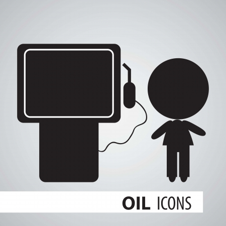 Icon of oil, gas station in black and white. Vector