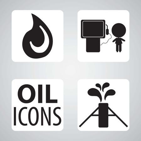 Oil icons black and white silhouettes, vector illustration Vector