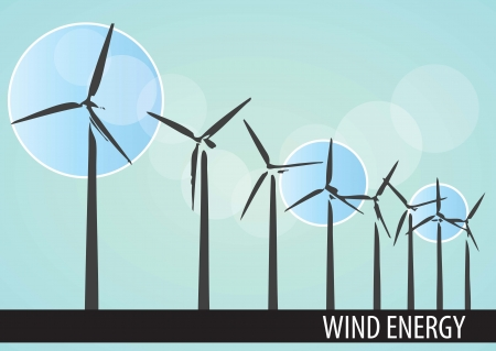 Wind power mills with blue background, vector illustration. Vector