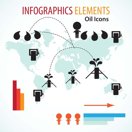 Elements for Oil infographics vintage colours, world background. Stock Vector - 16476633