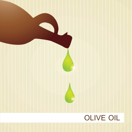 Bottle of olive oil with green drop. Vector