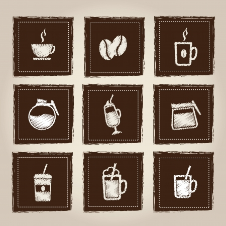 Icons of hot and cold drinks over gray background Vector