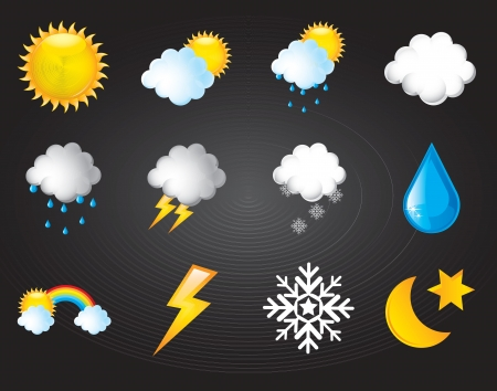 symbols climatic over black background vector illustration  Vector