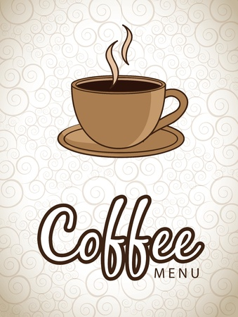 Hot cup of coffee over vintage background vector illustration Vector