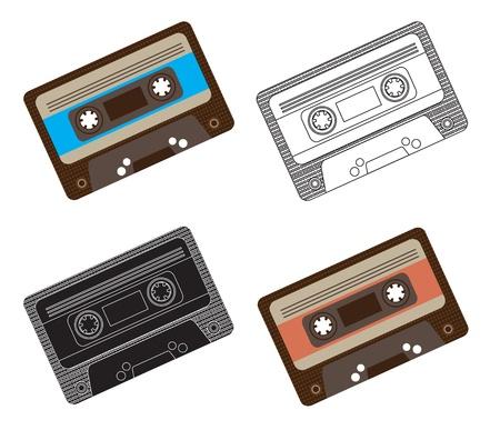 cassette tape: Different vintage cassettes over white background vector illustration