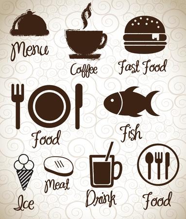 eating fast food: Iconos de men� siluetas sobre fondo ilustraci�n vectorial Vectores