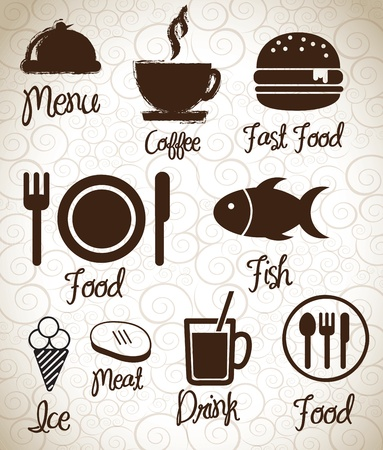 fast eat: Menu  icons silhouettes  over background vector illustration  Illustration