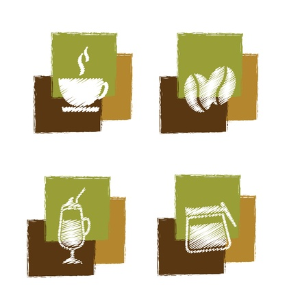 milk shake: coffee signs over white background vector illustration
