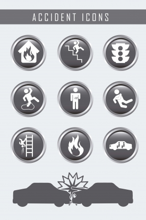 risks button: accident icons over gray background. vector illustration Illustration