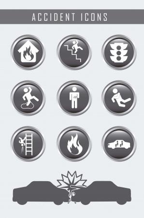 wet floor caution sign: Iconos de accidentes sobre fondo gris. ilustraci�n vectorial Vectores
