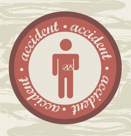 prevencion de accidentes: accidente de etiqueta sobre fondo grunge. ilustraci�n vectorial