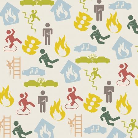 prevencion de accidentes: Iconos de accidentes sobre fondo beige. ilustraci�n vectorial