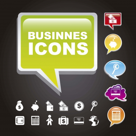 business icons over black background. vector illustration Vector