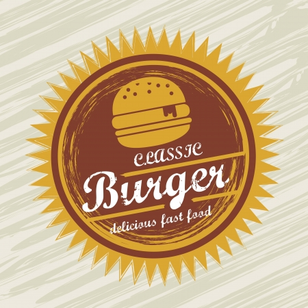 american cuisine: burger label over grunge background. vector illustration Illustration