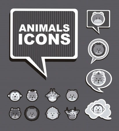 ic�nes d'animaux sur fond gris. illustration vectorielle