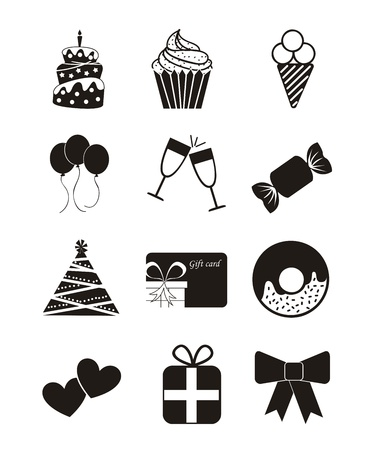birthday icons over white background. vector illustration Vector