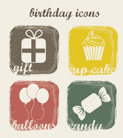 birthday icons over beige background. vector illustration Stock Vector - 16703223