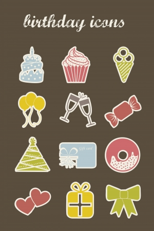 birthday icons over brown background. vector illustration Vector