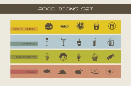 fast food icons, vintage style. vector illustration Stock Vector - 16702521