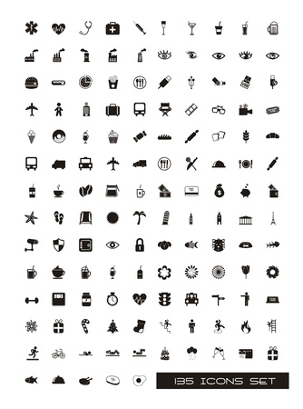medical icon: black silhouettes icons over white background. vector