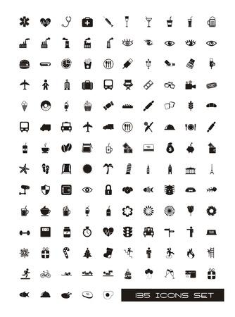 medico computer: Icone nere sagome su sfondo bianco. vettore