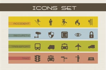 retina scan: security and transport icons, vintage style. vector illustration