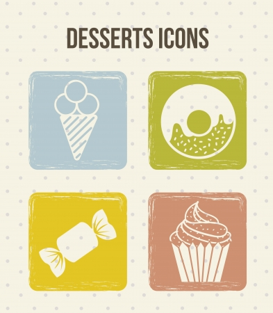 four dessert icons, vintage style. vector illustration Vector
