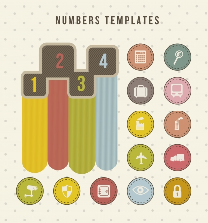 four numbers templates, vintage style. vector illustration Stock Vector - 16702692