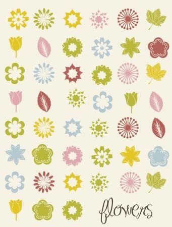 outline flower: flowers icons over beige background. vector illustration Illustration