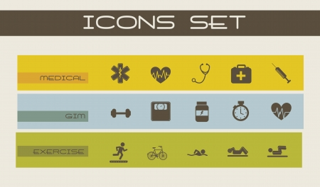 adn: Iconos médicos sobre fondo beige. ilustración vectorial