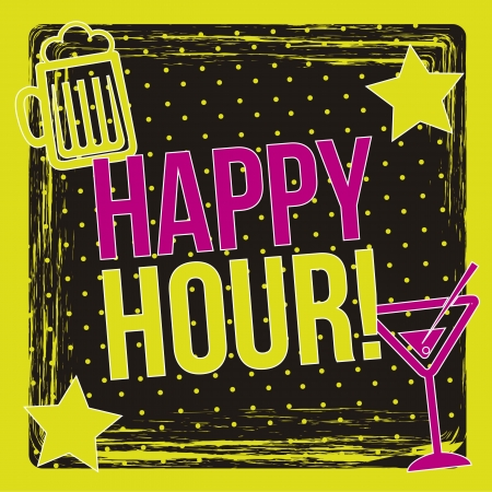 happy hour label over black background. vector illustration Vector