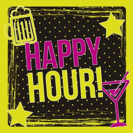 Happy Hour Label auf schwarzem Hintergrund. Vektor-Illustration