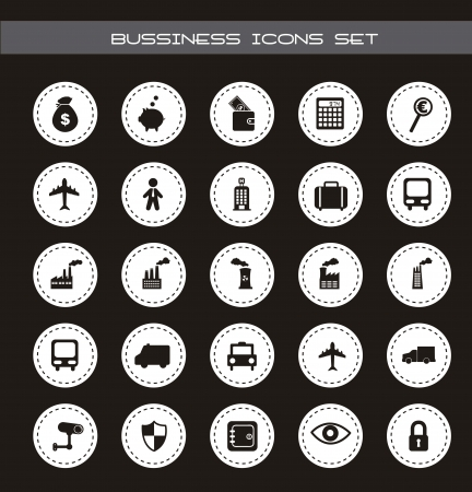 retina scan: business and transport icons over black background. vector  Illustration