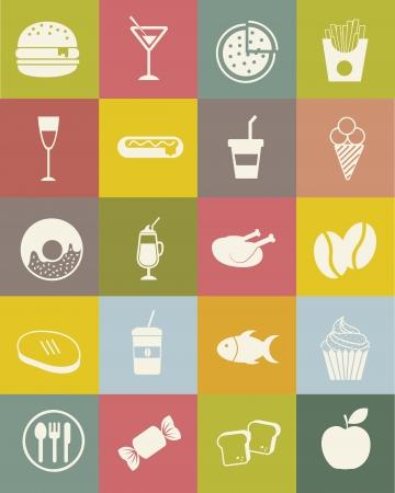 eating fast food: Iconos de los alimentos sobre fondo vintage. ilustraci�n vectorial