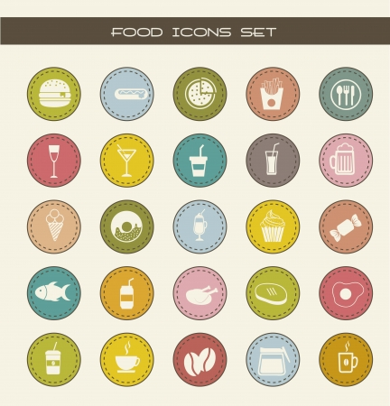 food icons over vintage background. vector illustration