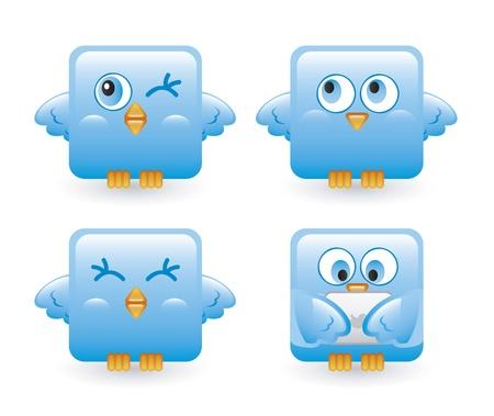 four blue birds over white background. vector illustration Stock Vector - 16702647