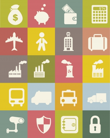 retina scan: business and transport icons over vintage background. vector