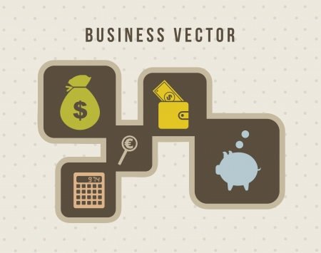 bag of money: business icons over vintage background. vector illustration