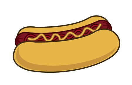 hot dog: hot dog cartoon over white background. vector illustration