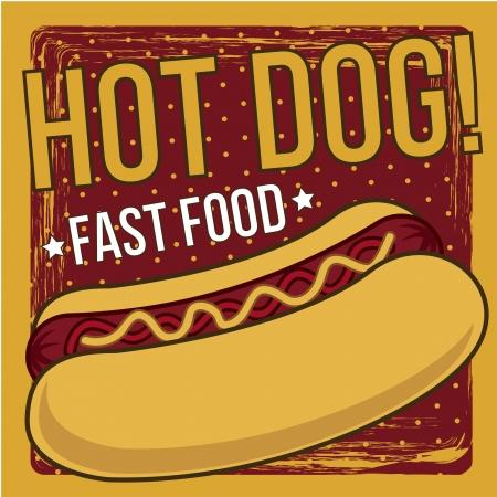 hot announcement: anuncio de perro caliente, estilo vintage. ilustraci�n vectorial