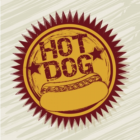 hot dog: hot dog label over beige background. vector illustration Illustration