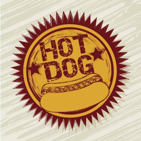 fattening: hot dog label over beige background. vector illustration Illustration