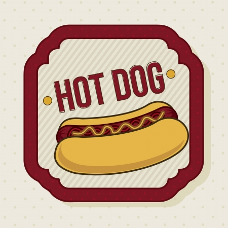 hot dog label over beige background. vector illustration Stock Vector - 16702786