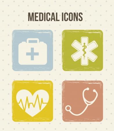 emergencia medica: Iconos m�dicos sobre fondo beige. ilustraci�n vectorial