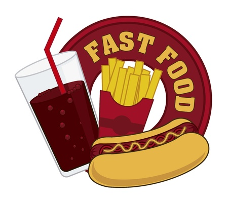 eating fast food: fast food sign over white background. vector illustration