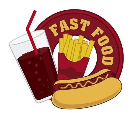 fast food teken op een witte achtergrond. vector illustratie