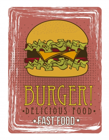 burger announcement over grunge background. vector Vector