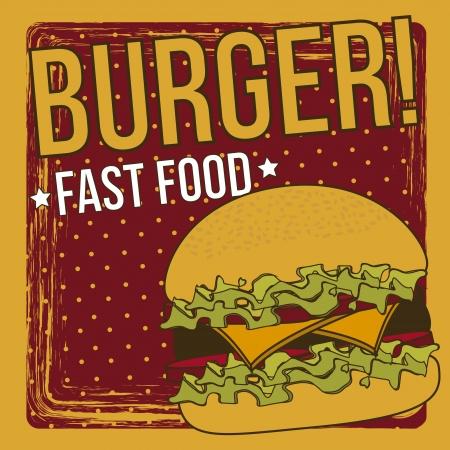 gourmet burger: burger announcement over grunge background. vector illustration