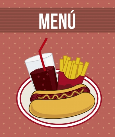hot dog cartoon over red background. vector illustration Vector