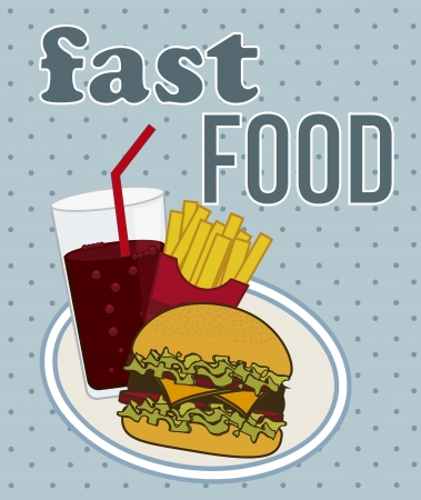 fast food over blue background. vector illustration Vector